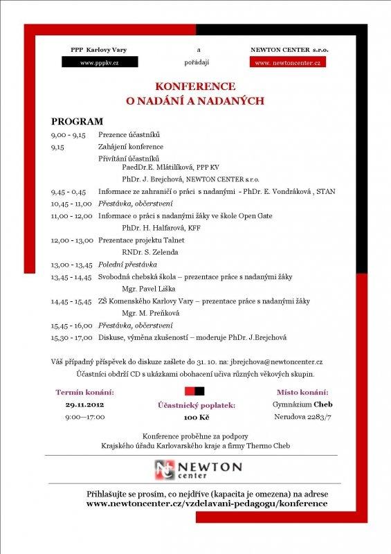 Konference o nadání a nadaných 2012 - Program ke stažení
